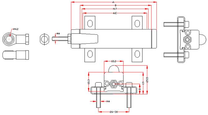 ktm微型拉杆系列安装尺寸图